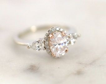 Oval Moissanite Ring, Halo Engagement Ring, Diamond Ring
