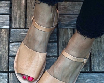 Dalida leather flat shoes,greek leather sandals,open toe shoes,leather strappy sandals