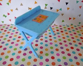 Vintage Renwal Blue Baby Changing Table Bathtub Bathinette Mid Century Plastic Nursery Room Dollhouse Miniature Furniture