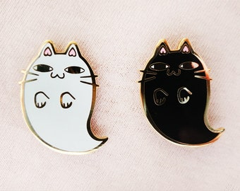 Ghost Kitty Enamel Pins (glow in the dark)