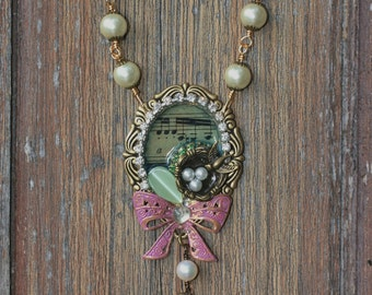 Vintage inspired bird song Necklace