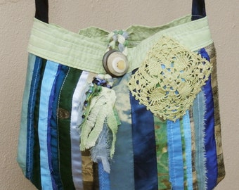 Patchwork Boho Purse Blues and Greens, Shoulder or Cross Body Bag Handmade