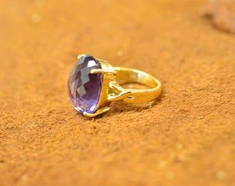 Natural Large Amethyst Ring 18K