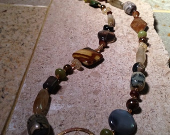SOLD via Art Fair - Multi Semi Precious Gemstone, Oxidized/Fire Torched Loop | Necklace