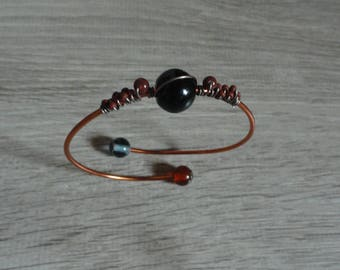 Bracelet wire-wrapped wire - black and Burgundy