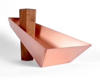 Margo | Walnut & Copper- Pedestal Tray, Fruit Bowl, Dish