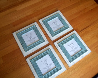 8x8 Distressed Frames.  Colors are Mystique and Tropical Bay.