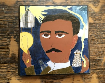 Nikola Tesla 4 X 4 inch Icon Print on Wood