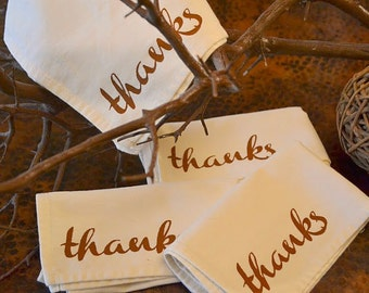 THANKSGIVING Napkins Screen Printed on Ecru Cloth Napkins ...  SET  of  FOUR