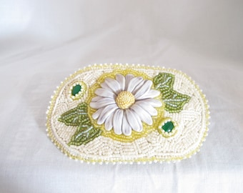 Barrette-Laura Mears daisy-bead embroidered-green malachite cabs-green, yellow, cream seed beads-spring hair clip-flower hair barrette