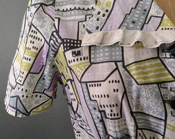FREE SHIP 1940s Concrete Jungle Novelty Print Buildings City Day Dress Puff Sleeves