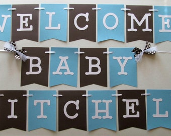 Good New Baby Welcome Banner In Baby Blue And Brown For Hospital Door Decoration  / Welcome Home