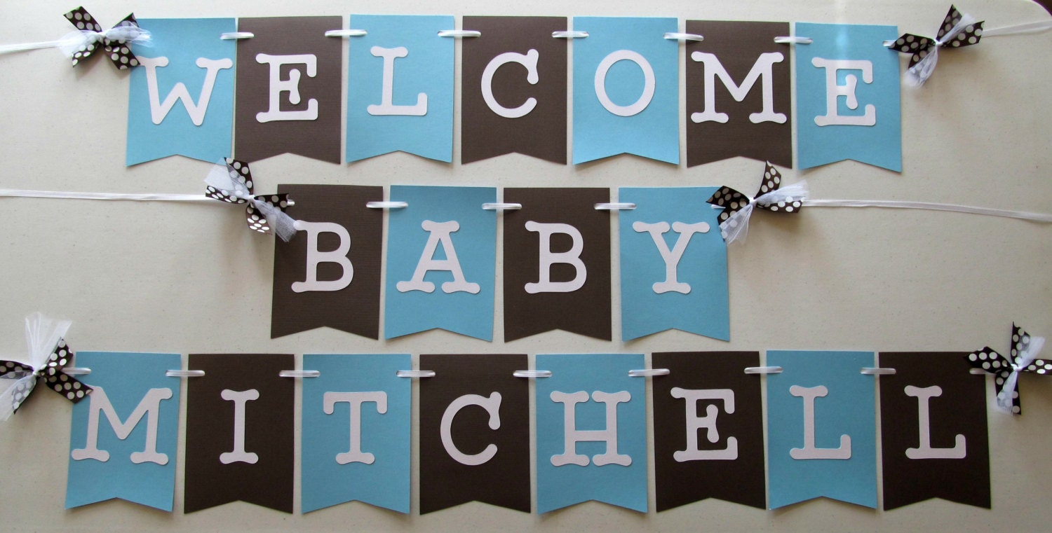 New Baby Welcome Banner In Blue And Brown For Hospital