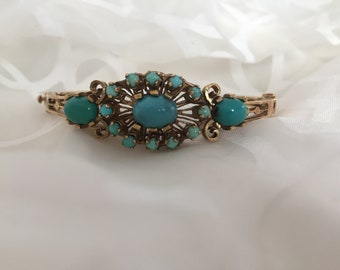 Turqoise Bangle Bracelet 14kt Yellow  Gold  Etched Design