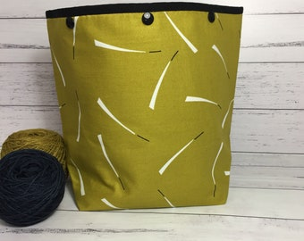 Large Knitting Project Bag - City Chartreuse - Super Snap GoGo