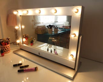 Vanity mirror etsy vanity mirror with lights and stand tilted hollywood mirror free standing swivel mirror aloadofball Image collections