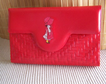 "Vintage 70's ""SMART TOUCH"" Purse Secretary with a Holly Hobbie in Red made by American Greetings Very Rare"