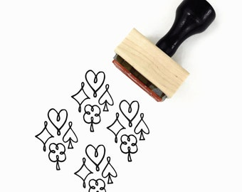 Rubber Stamp Playing Card Suits | Symbols Hearts Spades Diamonds Clubs Pattern Stamp | Wood Mounted Stamp