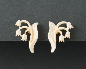 Vintage Celluloid Tulip Earrings