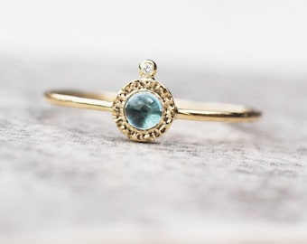 Blue topaz and diamond ring handcrafted in 14k gold, November Birthstone, Anniversary Gift for Her, Unique Ring