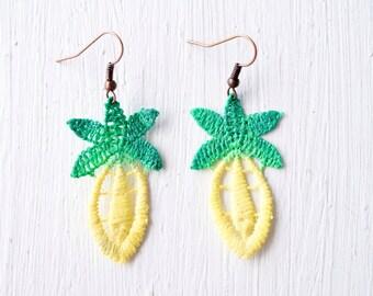 Pineapple Lace Statement Earrings