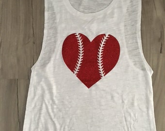 Baseball Heart Muscle Tank Baseball Top Women's Baseball Tank Baseball Season Glitter Muscle Tank
