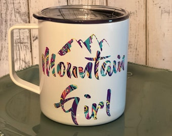 White/Purple Peacock Mountain Girl Camp Cup