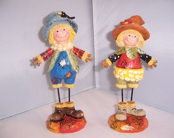 Hand painted Boy and Girl Fall Scarecrow resin figurines