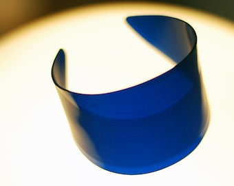 Blue Vinyl Record Cuff - Rock and Roll Jewelry Made From Recycled Vinyl Record