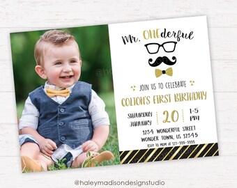 Mr. Onderful Birthday Invitation, Little Man First Birthday Invitation, Mustache, Bowtie party Invitation DIGITAL FILE