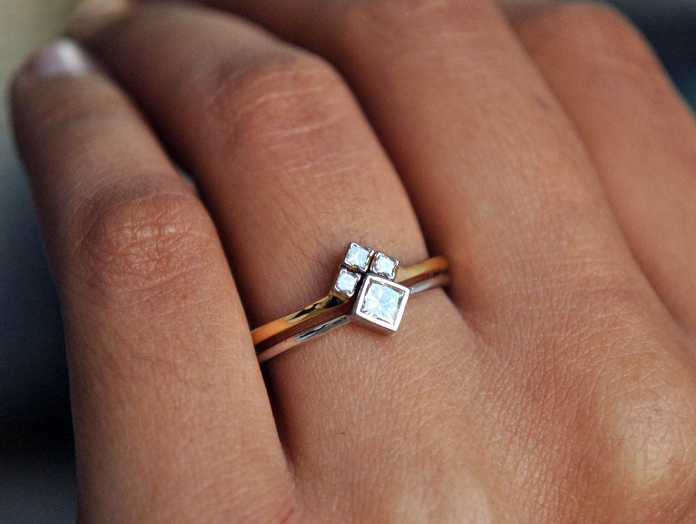 Wedding Ring Set White Yellow Gold Princess Cut Diamond