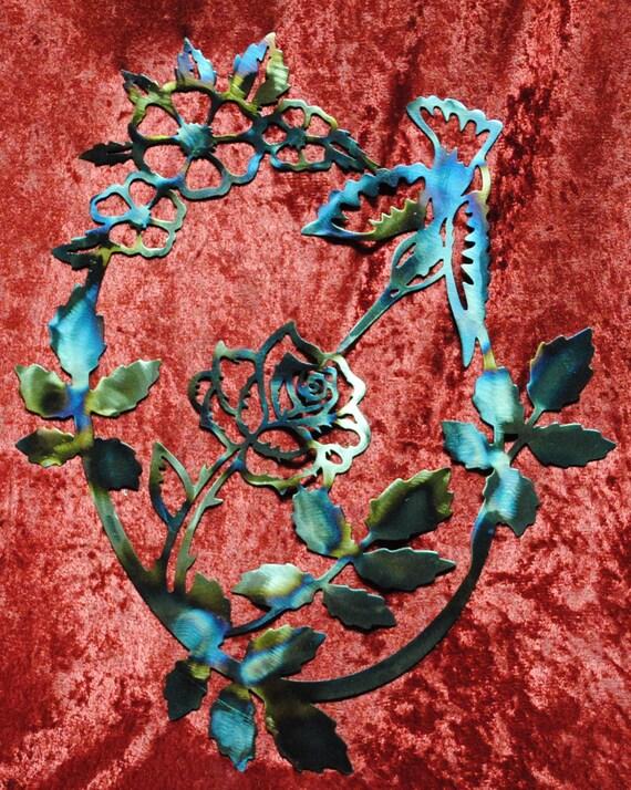 """Hummingbird Inside Rose Vine 13"""", Hummingbird, Rose, Bird, Flower, House Warming Gift, Nature, Home Decor, Indoor Wall Art, Outdoor Wall Art"""