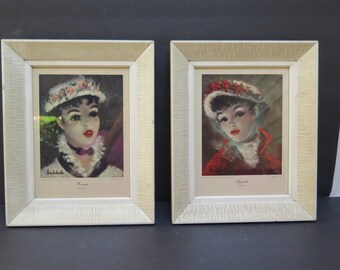 Mid Century Modern Pair of Framed Huldah Pretty Girl Yvonne and Annette prints