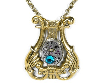 Steampunk Jewelry Necklace LYRE HARP Vintage Watch Movement Turquoise Crystal Anniversary Mothers Day Gift - Jewelry by SteampunkBoutique