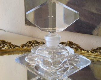 Vintage Perfume Bottle by Irice I. W. Rice and Co. Faceted Glass Mid Century Clean Never Used