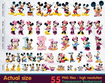 Mickey clipart - Minnie Clipart Digital 300 DPI PNG Images, Photos, Scrapbook, Cliparts - Instant Download