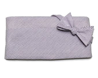 Purple Seersucker Stripe Cummerbund & Bow Tie~Mens Cummerbund Set~Mens Formal Wear~Groomsmen~Groom~Self Tie Bow Tie~Men Gift~Wedding