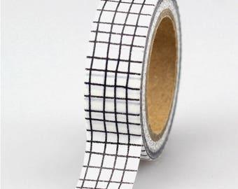 Washi tape Plaid black and white - pretty washi tape tile