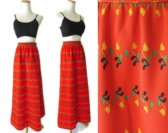 70s Maxi Skirt Lanz Long Skirt Red Orange Floral Psychedelic Hippie Hippy 1970s High Waist High Waisted Small S Festival Fashion Polyester