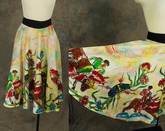 vintage 50s Mexican Circle Skirt - 1950s Hand Painted Sequin Wrap Skirt Matador Bullfighting Novelty Print Skirt Sz S M L