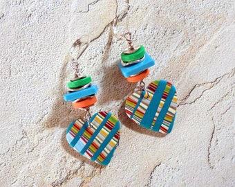 Aqua, Green, Peach and Silver Striped Heart Earrings (4190)