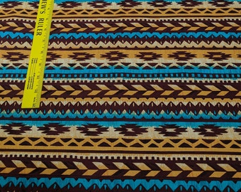 Blanket Stripe-Brown and Turquoise Cotton Fabric from Michael Miller
