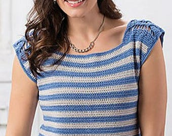 Crochet Pattern: Boating Tee, Women's Sizes XS thru 2X **Permission to sell finished items