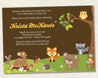 Forest Friends Baby Shower Invitation - Woodland Friends -Digital File, Your Print 5x7