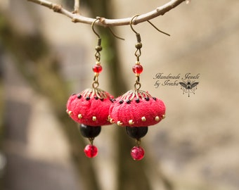 Linen and beads, red, black and gold earrings