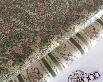Paisley Power by Ro Gregg Fabric, Northcott Fabric, Sage Green and Blush Quilting Cotton, Quest For A Cure Fabric