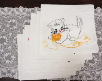 BABY ANIMALS Set of 7 Cotton Dish Towels  Hand Embroidered