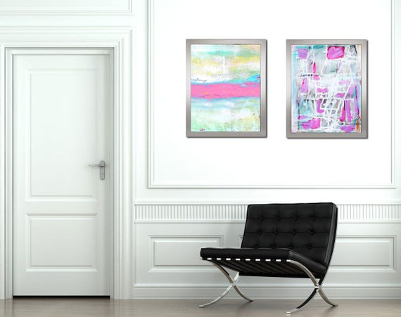 Abstract Painting Print Set Abstract Art Small Framed