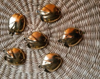 1 purchased = 1 available, set of 6 charms apples patina old gold