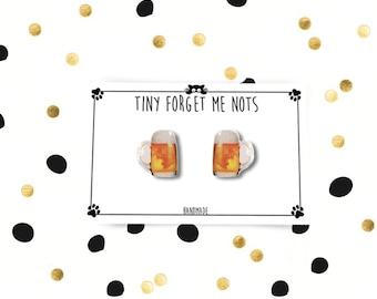 Beer Stud Earrings - Beer Stud Earrings - Jug Stud Earrings - Beer Earrings - Earrings - Hypoallergenic Surgical Steel Stud Earrings - 10 mm